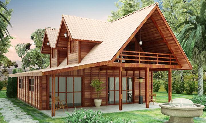 casa de madeira simples de 2 pavimentos