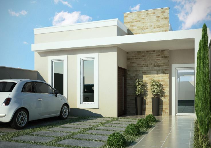 Fachada com vidraças para casa pequena sem garagem