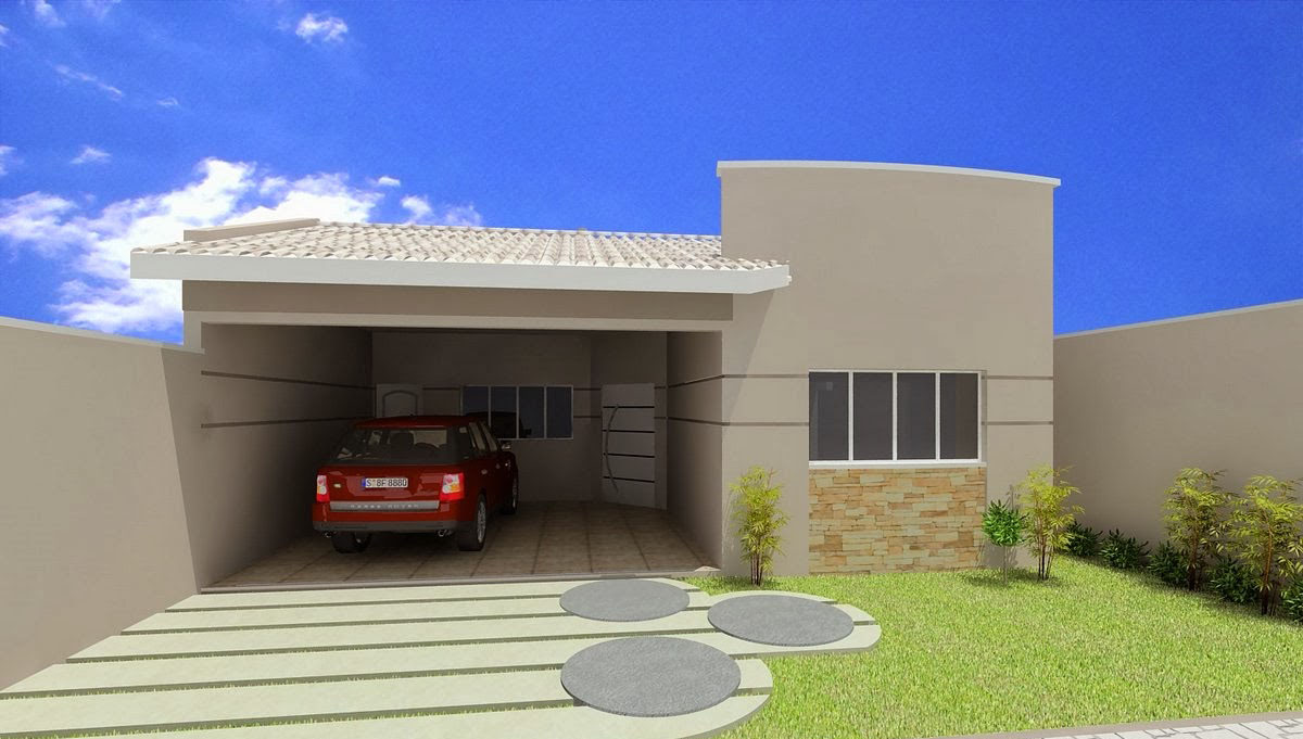 fachada de casa pequena sem telhado