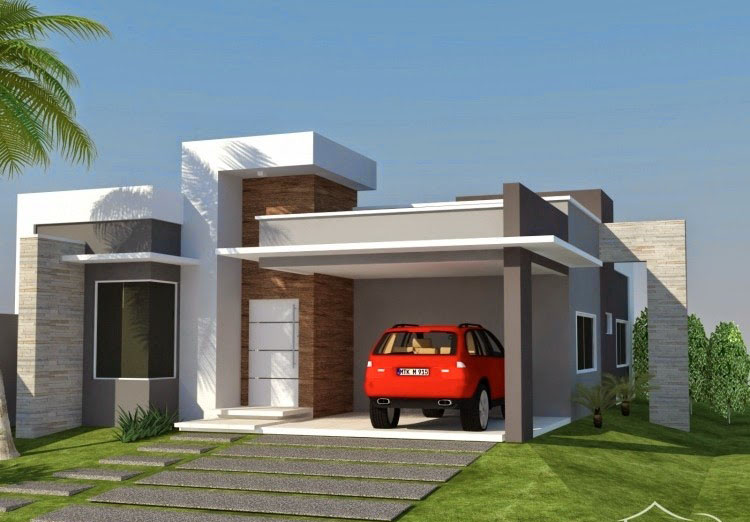 Fachadas de casas pequenas e simples 95 ideias e modelos for Fachadas modernas para casas pequenas de una planta