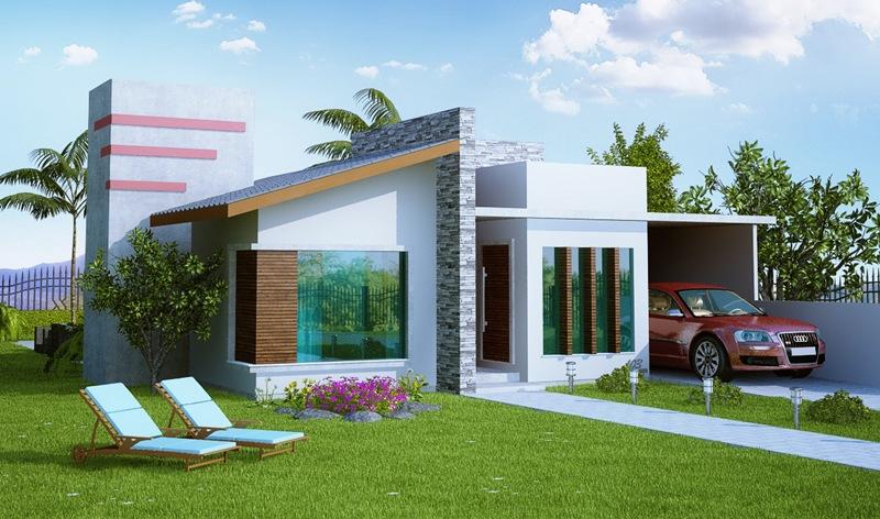 Fachadas de casas pequenas e simples 95 ideias e modelos for Casas modernas terreras