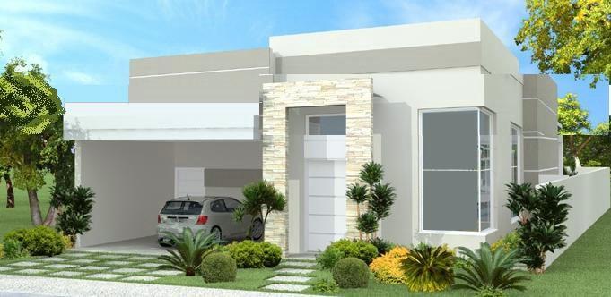 Fachadas de casas pequenas e simples 95 ideias e modelos - Fachadas de casas modernas planta baja ...