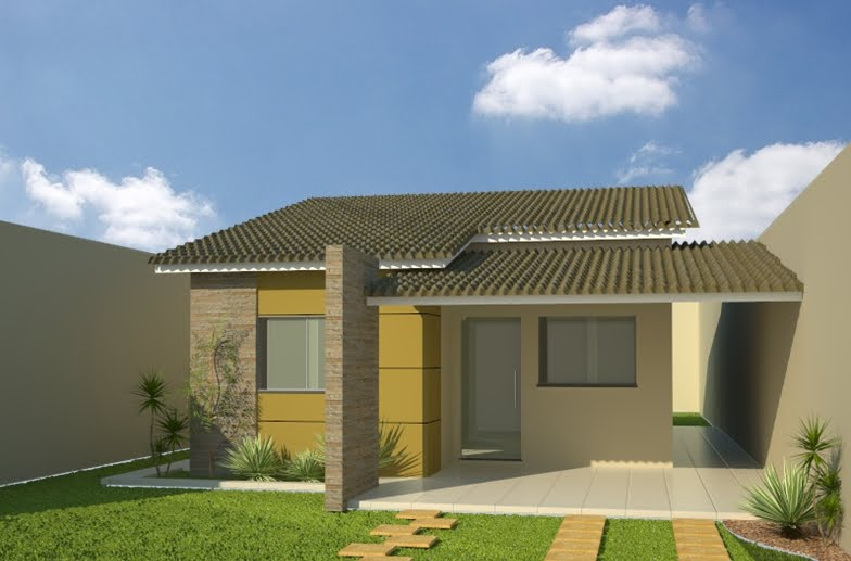 Casa pequena fachada simples meia água