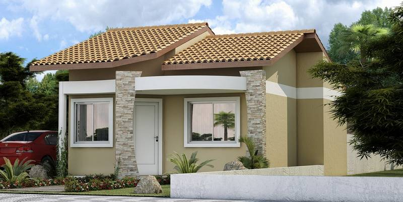 Fachadas de casas pequenas e simples 95 ideias e modelos for Pintura de exteriores de casas pequenas