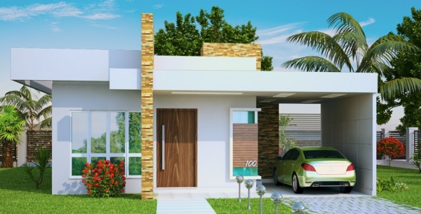 Fachada de casa pequena simples