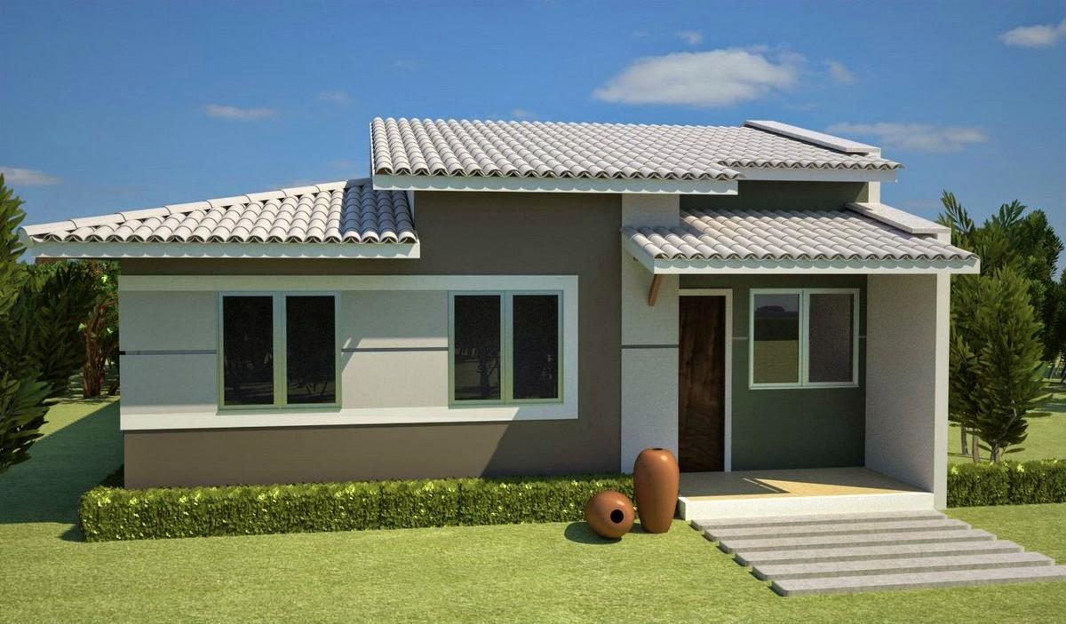 Fachada simples para cada pequena com telhado 4 águas