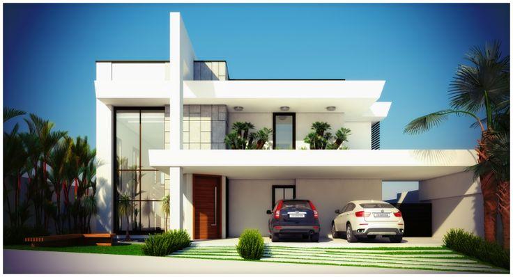 fachada de sobrado residencial moderno