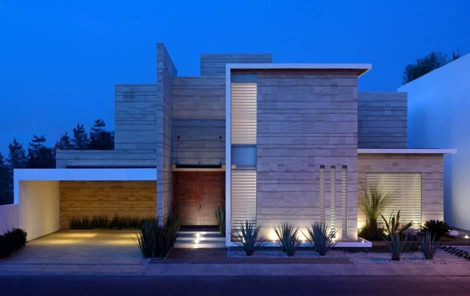 Casa de luxo com fachada de concreto