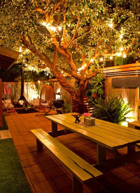 Árvore iluminada com luminárias fixas
