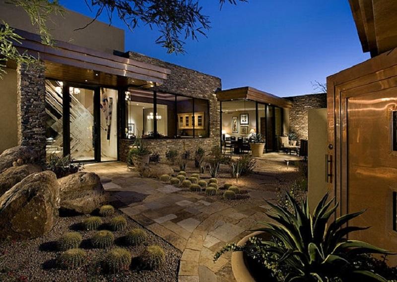 Jardim seco de cactus que não precisa de rega
