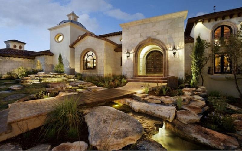 Jardim de pedra para residencia estilo santa fé