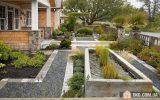 Jardim moderno minimalista com linhas retas