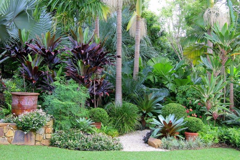 Jardim decorado com várias folhagens