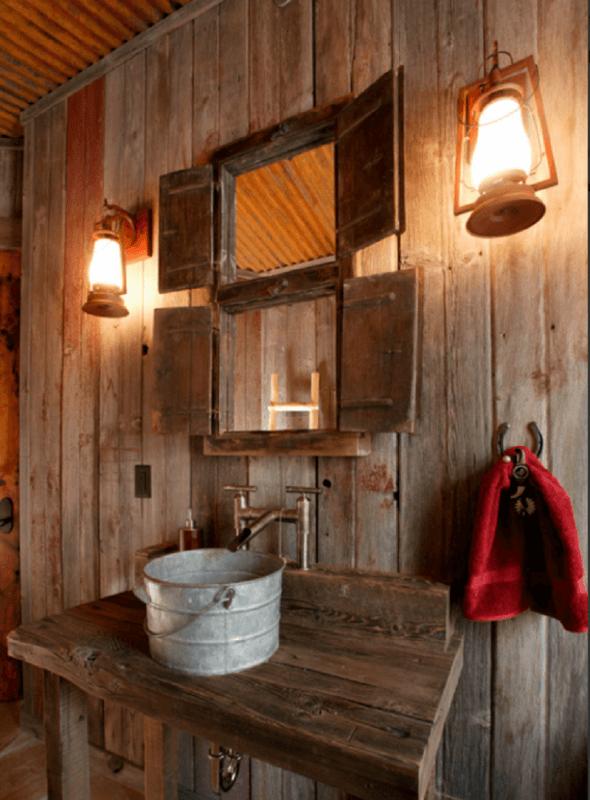 Luminária Rustica em Banheiro
