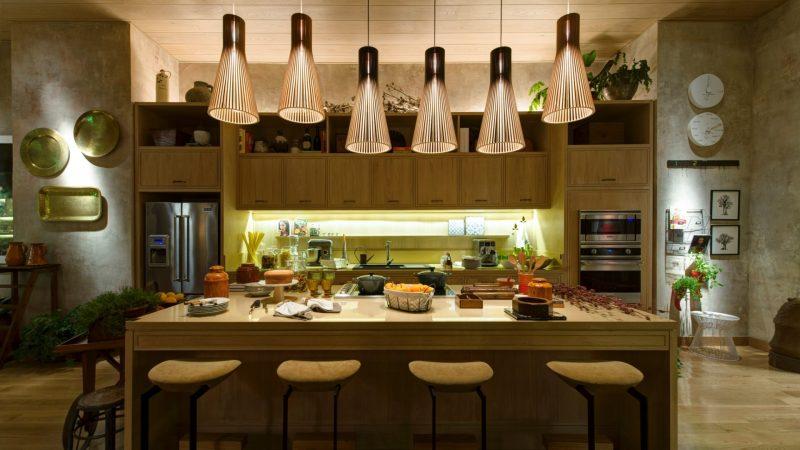 Luminária Rustica na Cozinha