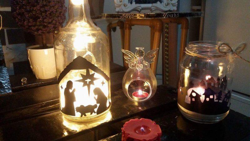 luminária com velas e pote de vidro