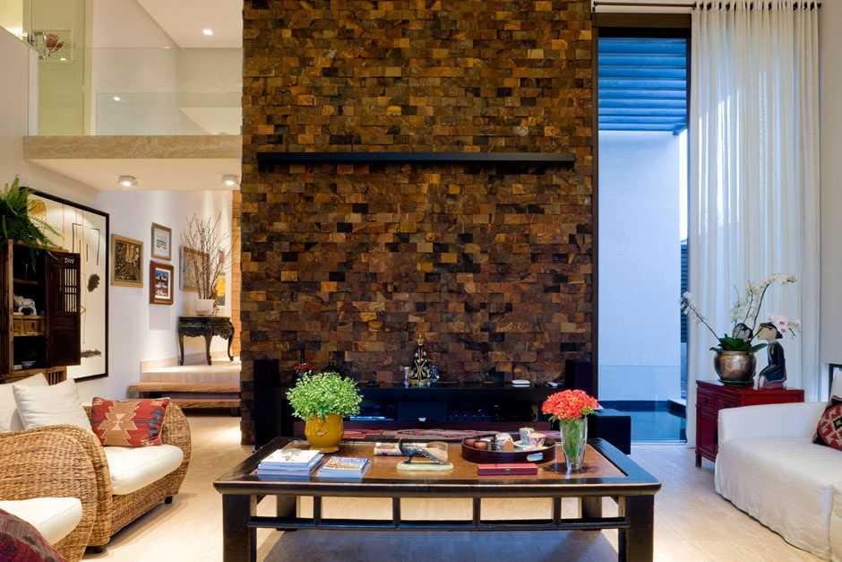 Painel de parede de sala em pedra ferro