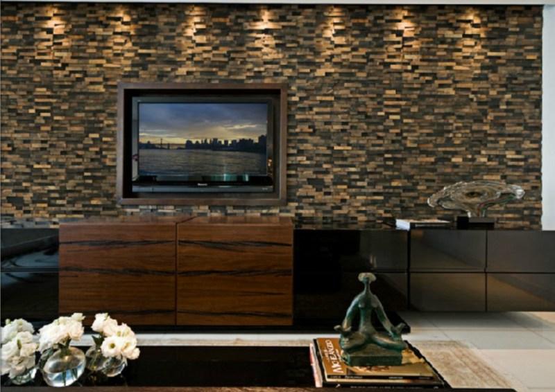 Revestimento de pedra ferro na sala de estar
