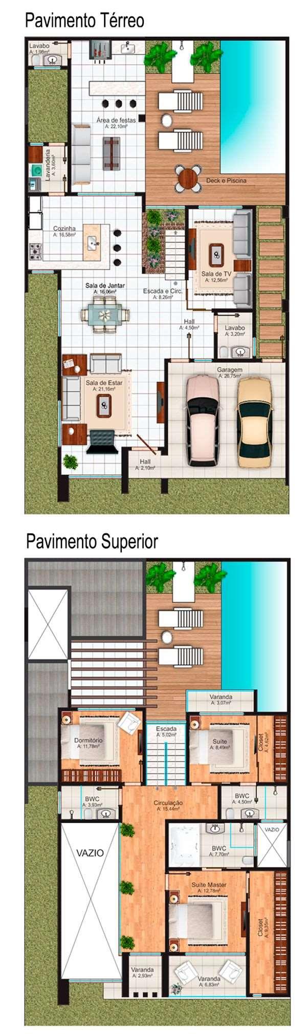 planta sobrado 2 pavimentos com 3 dormitórios modernos