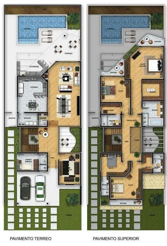 15 projetos modelos e fachadas de sobrados for Planos de casas 200m2