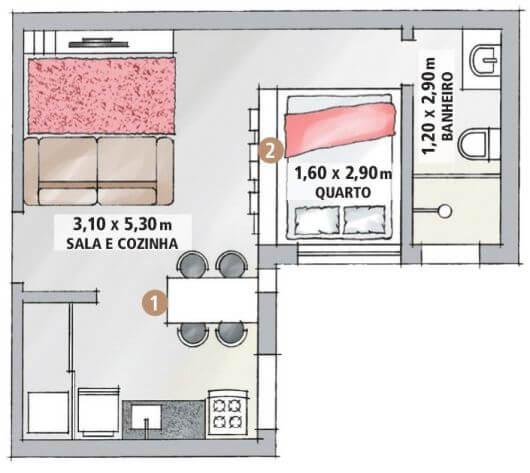 Projeto simples de ambiente residencial com 1 dormitório