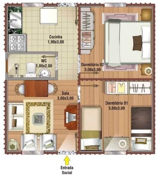 Planta de casa pequena com piso laminado nos quartos banheiro e cozinha