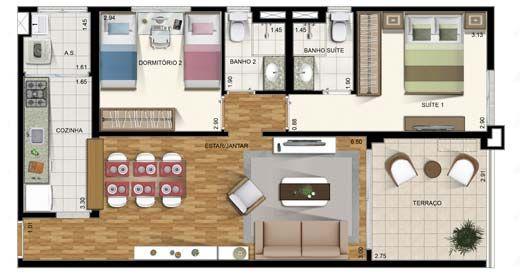 Projeto de casa pequena com piso laminado em áreas comuns