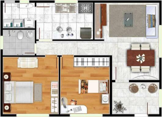 Projeto de casa pequena dois dormitórios com piso laminado