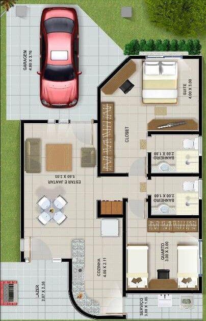 Fachadas de casas pequenas e simples 95 ideias e modelos for Planos de casas pequenas de dos plantas