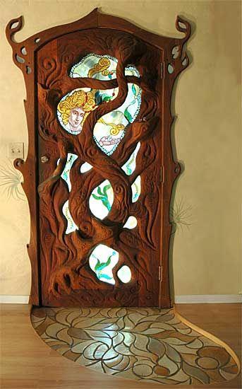 porta de madeira art nouveau