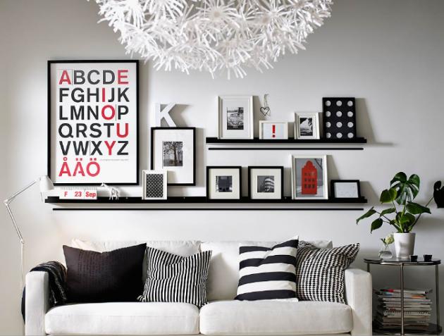 quadros decorativos para decoração da sala de estar com prateleiras