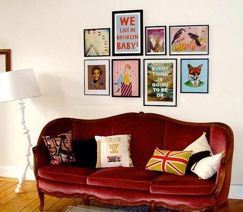 Quadros divertidos a decoração da parede da sala de estar