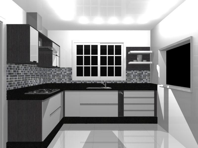 Cozinha pequena com decoração preta