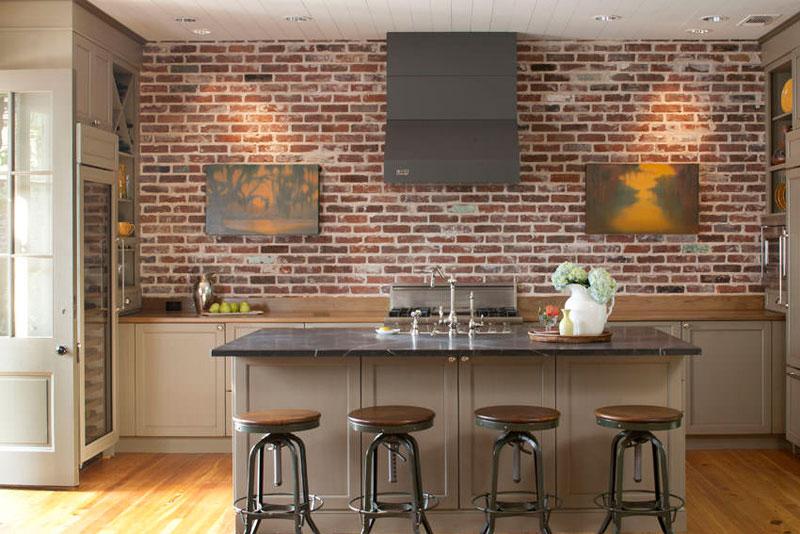 tijolo aparente cozinha moderna americana
