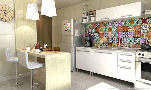 Azulejos coloridos estilo vintage decorando o ambiente