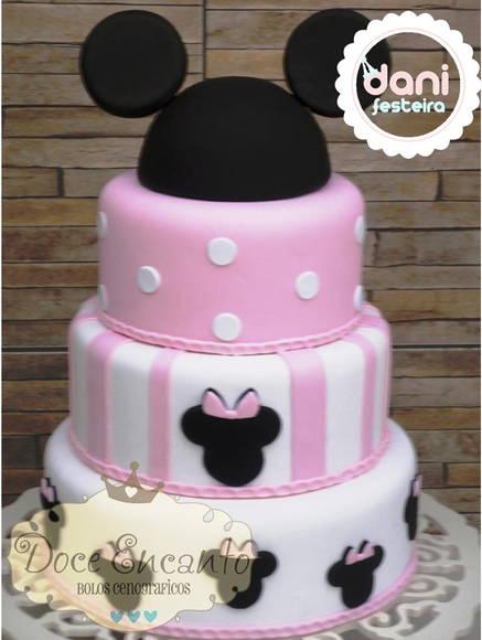 Bolo de 3 níveis da Minnie da Disney, cor de Rosa