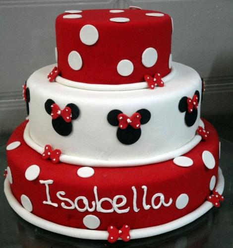 Bolo decorado de aniversário da Minnie vermelha