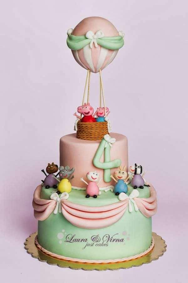 Bolo balão de aniversário da Peppa Pig