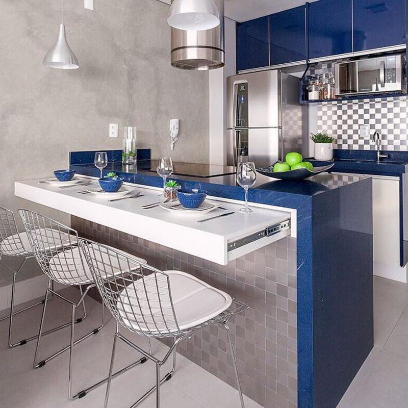 bancada moderna azul para cozinha