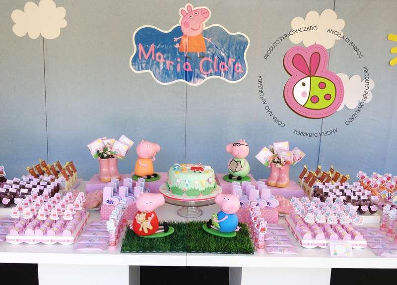 decoração de aniversária temática da Família Pig