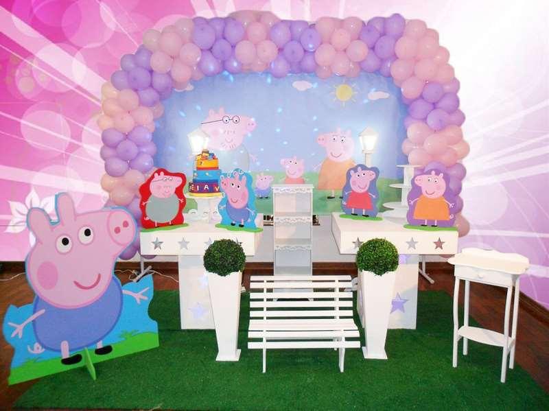 Decoração de festa da pepa infantil feminina