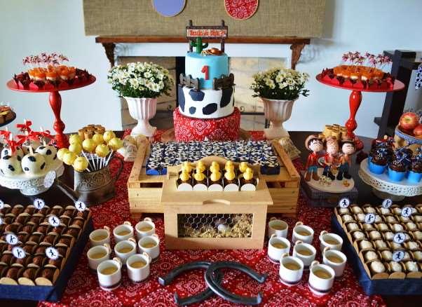 Bela decoração de fazendinha com muitos comes diversos para animar a sua festa