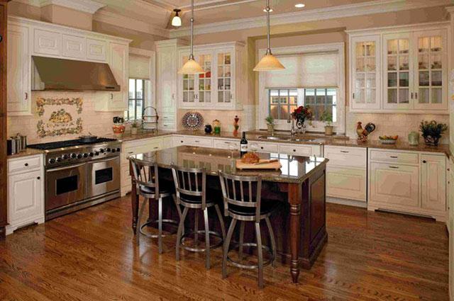 Cozinha com sinteco no piso de tacos