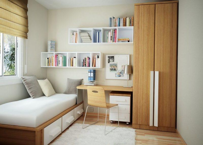 decoração de quarto de solteiro pequeno com escritório integrado