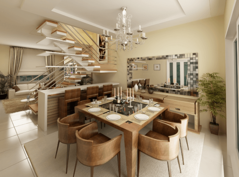 Decoração simples moderna de sala de jantar