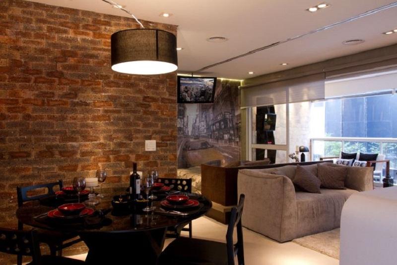alvenaria aparente em sala de jantar moderna