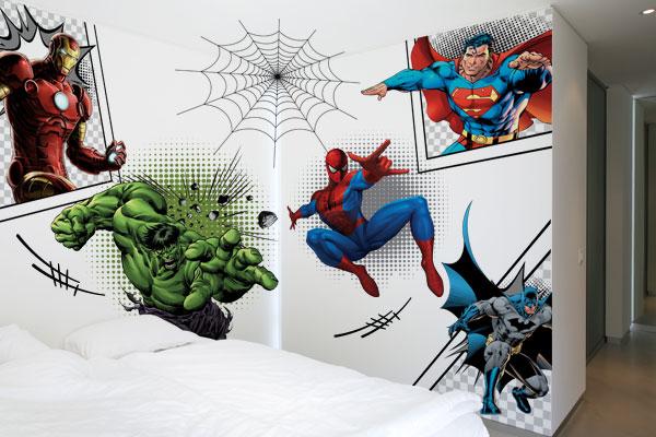 Adesivo de parede de super herois