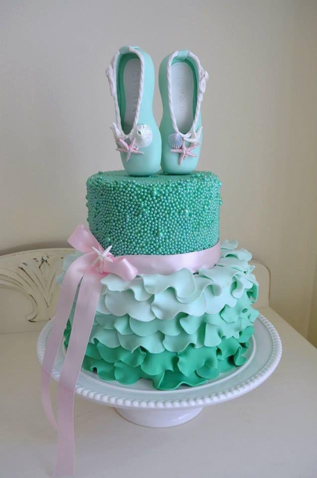 bolo verde para aniversário bailarina
