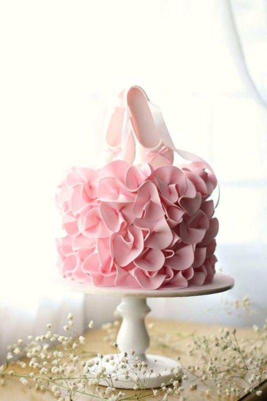 bolo delicado para festa bailarina