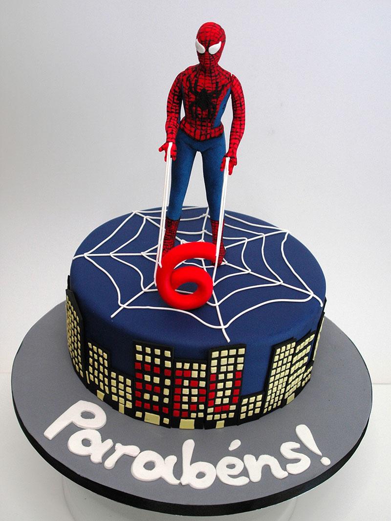 Bolo Homem Aranha decorado Super Heroi